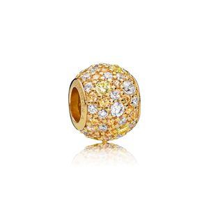 Pandora Shine 767052CSY Charm Golden Mix Pavé Ball Silber