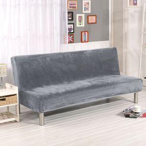 Samt Sofabezug Ohne Armlehnen, Moderner Ohne Armlehne Stretch Couch überzug Armlose Sofabettüberzug für Faltbares Schlafsofa Ohne Armlehnen ,180-210 cm (Silber)