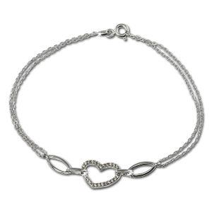 SilberDream Damen-Armband Herz weiß Sterling Silber glitzer 19cm weiß SDA423W