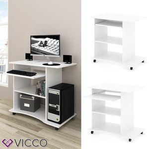 VICCO Computertisch HARM Tisch Bürotisch Laptoptisch Büro Schreibtisch rollbar Weiß