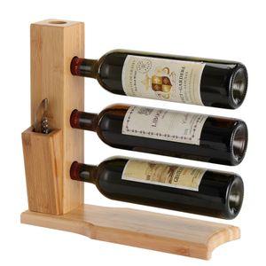 Decopatent Design Weinregal aus Bambus für 3 Flaschen Wein - Design Weinflaschenregal / Flaschenregal
