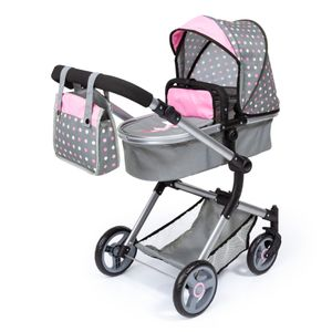 Kombi-Puppenwagen Vario grau/rosa