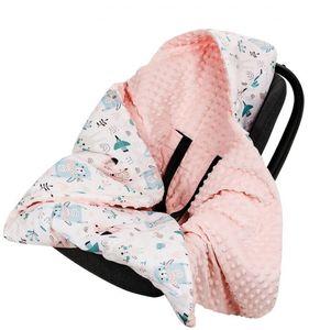 Minky Babydecke 90x90 Decke Baby Einschlagdecke mit Kapuze für Kinderwagen Buggy Babyschale  Pfirsich/Tiere