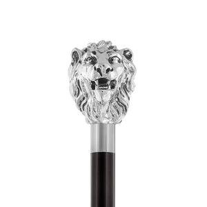 Eleganter Gehstock mit Griff Loewe mit Silber bezieht -  Spazierstock zur Hochzeit oder Feier - H. 94 cm
