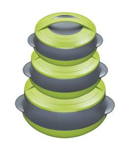 3/6tlg. KING® Thermobehälterset Diplomat deluxe / Farbe: grün-grau / mit 3 Behältern 800ml, 1000ml &1400ml