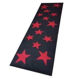 Moderner Läufer Teppich Brücke Teppichläufer Sterne Stars verschiedene Farben ca. 80x250 cm, Größe:80x250 cm, Farbe:schwarz/rot