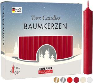 BRUBAKER 100er Pack Baumkerzen Wachs - Weihnachtskerzen Pyramidenkerzen Christbaumkerzen - Dunkelrot