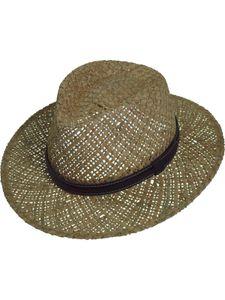 Sehr leichter Strohhut mit braunem Band aus 2 Stroh arten kombiniert, Kopfgröße:58, Farben:braun