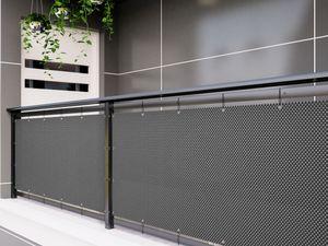 Polyrattan PVC Sichtschutzmatte 300x90 Balkon Sichtschutz Zaun Windschutz grau
