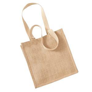 Westford Mill Jute Einkaufstasche, 10 Liter (2 Stück/Packung) BC4526 (Einheitsgröße) (Natur)