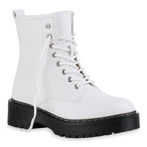 Giralin Damen Stiefeletten Worker Boots Schnürer Profil-Sohle Schuhe 836074, Farbe: Weiß, Größe: 39