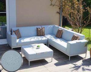 Alu-Garten-Garnitur HWC-C47, Sofa, Outdoor Stoff/Textil  blau mit Ablage, Kissen braun