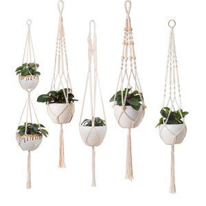 5er Set Makramee Blumenampel, Boho Deko Baumwollseil Hängeampel Blumentopf Pflanzen Halter Aufhänger für Innen Außen Decken Balkone Wanddekoration (Beige)