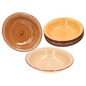 6er Set Suppenteller Sandy für 6 Personen tiefe Teller 20,5cm edles Porzellan-Geschirr 6 Farben