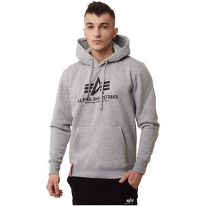 ALPHA INDUSTRIES Basic Hoody Herren Sweatshirt Pullover Sweater Grey Heather, Größe:XL