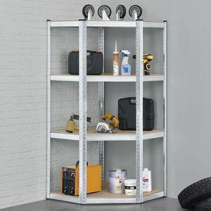 Juskys Eckregal Lageregal Corner Easy 160 x 75 x 40-75 cm | 320 kg | 4 Böden aus MDF Holz | Metall verzinkt | Schwerlastregal Steckregal Kellerregal