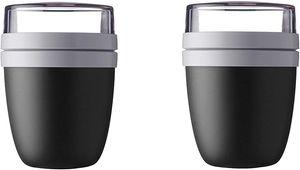 Mepal Lunchpot Ellipse 2-er Set Lunchbox Essensbehälter Reisebecher (Black Edition)