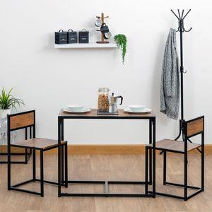 Harbour Housewares Compact Esstisch und Stühle Set - Kleine Moderne 2 Person Holzküchenmöbel Set - Metallrahmen