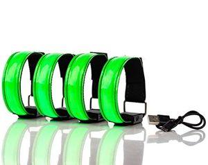 Aufladbares LED Armband, Leuchtband für Joggen, Laufen – Sicherheitslicht, Reflektor und Blinklicht für Kinder – Blinkende und statische LED-Funktionen, USB aufladbar (4 Stück)