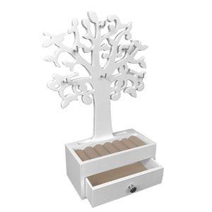 Schmuckbaum Holz mit Schublade und 6 Haken Weiß B19xH31cm