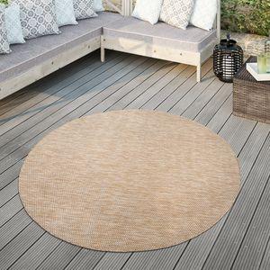 Teppich Für Outdoor Küchenteppich Balkon Terrasse Unifarbenes Design Modern, Farbe:Natur, Größe:Ø 80 cm Rund