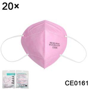 20 Stück FFP2 Schutzmasken bester Qualität, hocheffiziente Filter-Einwegmasken, CE0161, 5 Stück/Packung (Rosa)