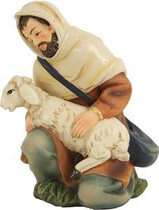 Hirte mit Schaf, kniend, Markus Krippe aus Polyresin. Zu 11 cm Figuren.