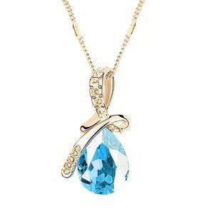 Damen-Halskette mit Zirkonia Anhänger in Tropfen Form, Autiga® gold-türkis