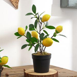 1 Stück künstliche Baumfruchtpflanze Bonsai Farbe Zitrone L.