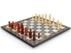 Klappbares Perlmutt Optik Schach Spiel mit Massiv Holz Schachfiguren