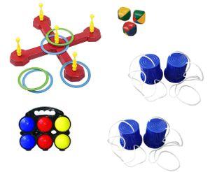 Garten & Kinder-Party-Set 20-teilig Spieleset Kindergeburtstag 4 verschiedene Spiele