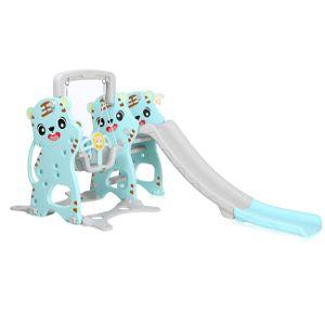 Baby Vivo Spielplatzschaukel / Spielgerüst mit Rutsche für Indoor Outdoor in Türkis / Grau