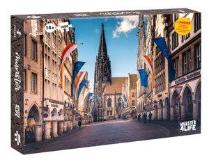 Puzzle Münster Prinzipalmarkt 1000 Teile Größe 66,5 x 50 cm mit Poster