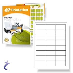 Printation Universal Qualitäts Etiketten 64,3 x 33,8 mm selbstklebend weiß - 2400 Stk 64,3x33,8 Labels auf 100 DIN A4 Bogen 3x8 - 3658