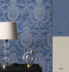 Tapete Barocktapete Blau   Barock Glamour Royal Ornament Prunk  Felix Muster