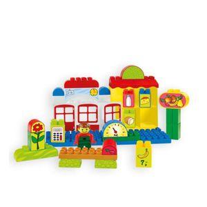 Mochtoys 10810 Bausteine Kaufladen mit Figur, Lebensmittel,Theke,Waage ab 1 Jahr