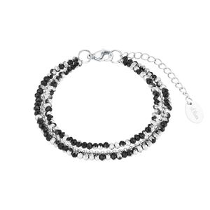 s.Oliver Armband für Damen, Edelstahl, Glas schwarz