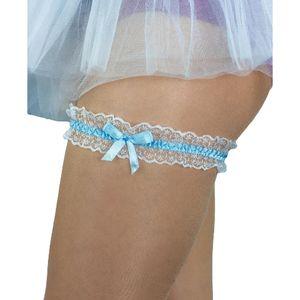 Oblique Unique Strumpfband mit Schleife Hochzeit JGA Junggesellinnenabschied - blau