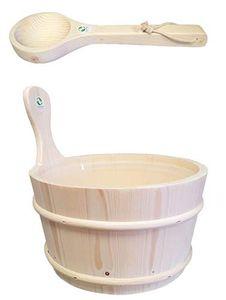 SudoreWell®   Sauna Aufgusskübel Saunakübel Kiefernholz 4,0 ltr. mit Einsatz + Schöpfkelle Plus 10g Mentholkristalle