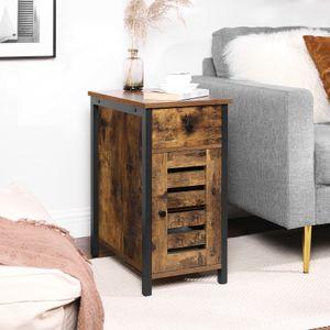 VASAGLE Beistelltisch, mit Schublade, 30 cm Nachtschrank für kleine Räume, Lamellentür, Metallgestell, Industrie-Design, vintagebraun-schwarz LET066B01