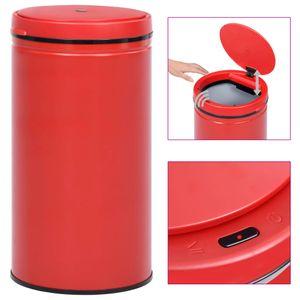 vidaXL Automatischer Sensor-Mülleimer 60 L Kohlenstoffstahl Rot