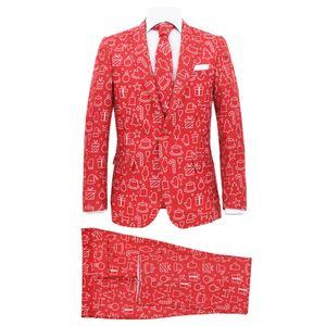 Huicheng 2-tlg. Weihnachtsanzug mit Krawatte Herren Größe 54 Rot
