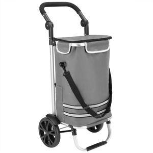 Monzana 2in1 Einkaufstrolley 56L bis 50 kg klappbar abnehmbare Tasche Handwagen Einkaufswagen Einkaufshilfe Roller, Farbe:Grau