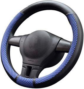 Universal Steering Wheel Cover Auto LenkradhülleHeavy Duty Mikrofaser Weich Lenkradbezug 38CM / 15'' (2-Blau)