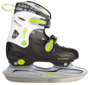 Nijdam Kinder Eishockeyschlittschuh Verstellbar Hardboot Schwarz/Weiß/Grün, Größe:34-37