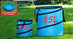 2-er Pop-Up Gartenabfallsack  85L+15L Gartensack Gartentasche Laubsack Rasensack TÜRKIS