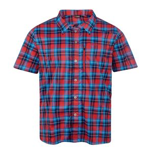 XXL Maier Sports Funktions-Kurzarmhemd Karo rot-blau, Größe:58