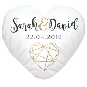 Herzkissen Hochzeitskissen personalisiert Geschenk Liebe eigene Namen anpassbares Datum SpecialMe® weiß Herz-Kissen