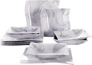 MALACASA, Serie Flora, Marmor Porzellan Tafelservice 12 Teiligen Set Kombiservice Geschirrset mit je 6 Speiseteller und 6 Suppenteller für 6 Personen