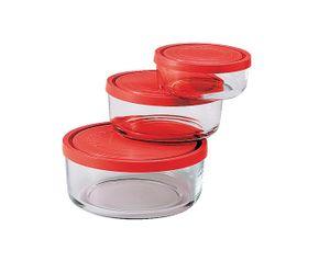 Bormioli Frischhaltedosen Frigoverre rot 3-teilig